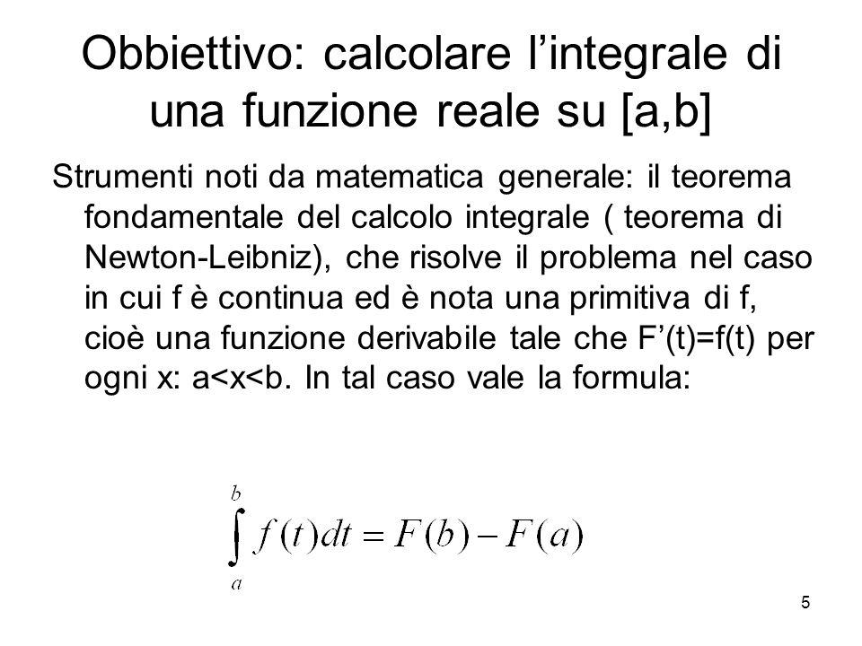 Obbiettivo: calcolare l'integrale di una funzione reale su [a,b]